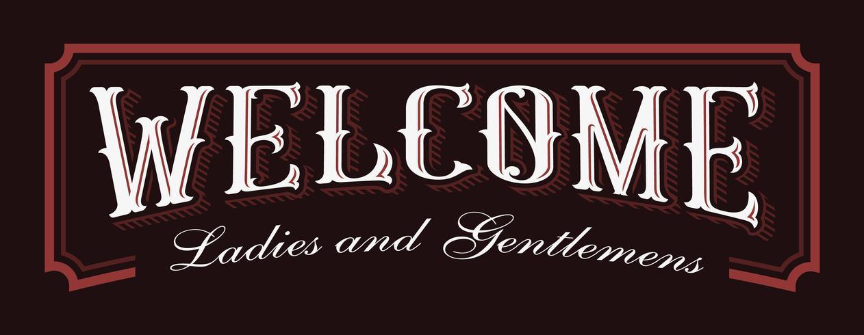 Ilustración de letras vintage de bienvenida. vector