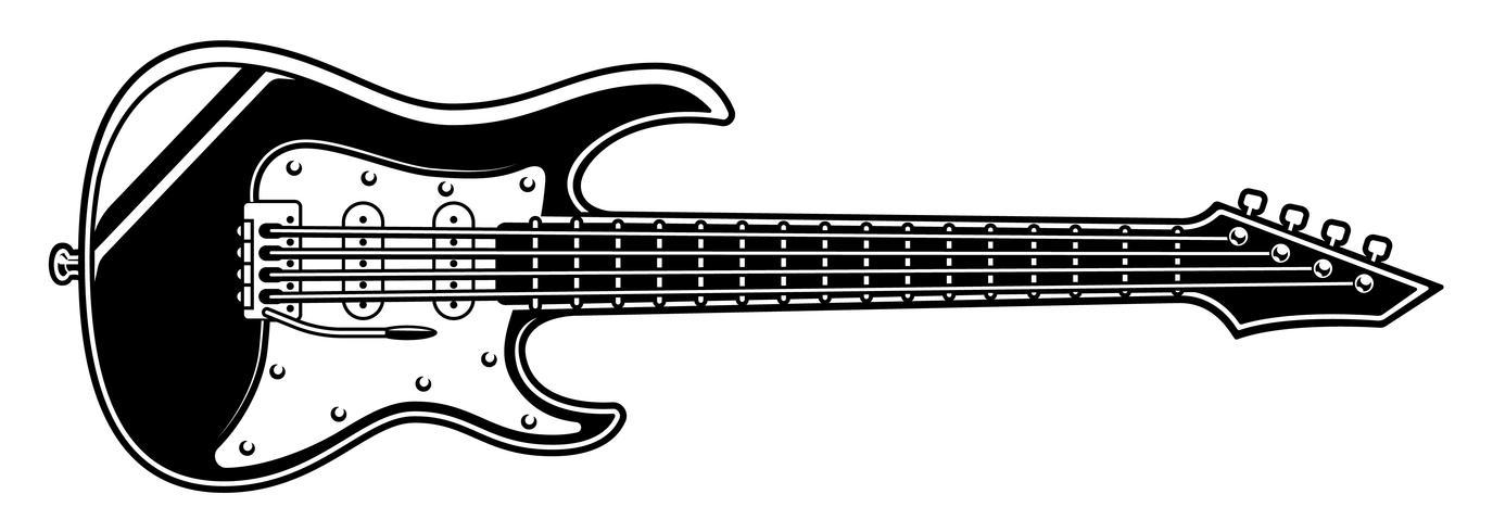 Ilustración en blanco y negro de guitarra eléctrica. vector