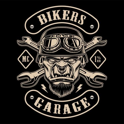 Black and white design of biker patch with the character.  vector