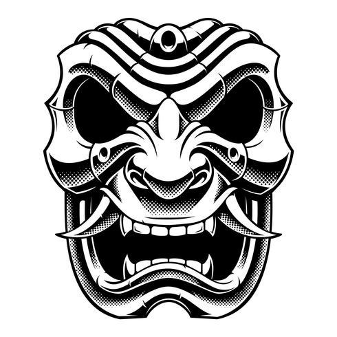 Samurai warrior mask (B&W version) vector