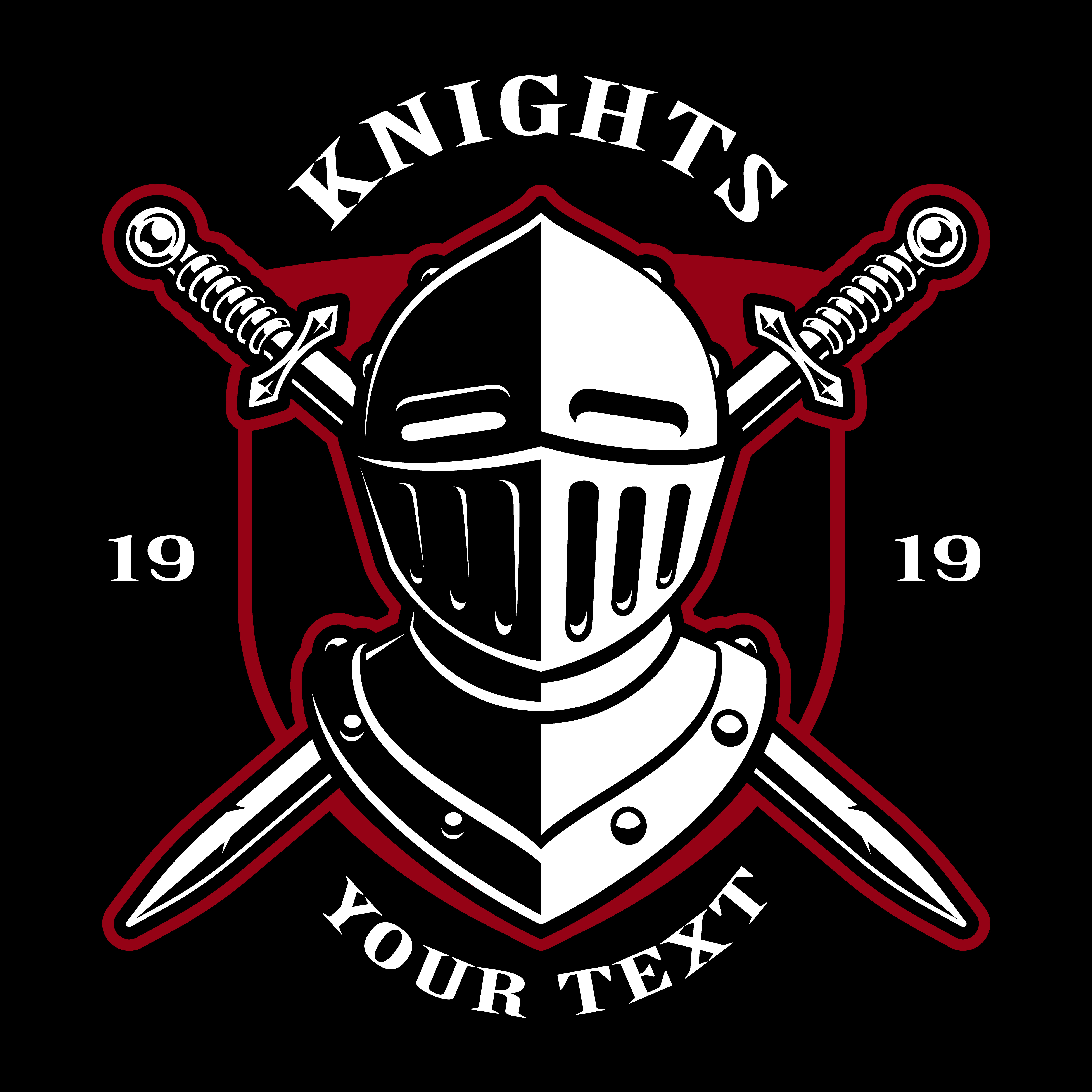 Knight helmet with two swords isolated ...   Stock Vector ...  Knights Helmet Logo