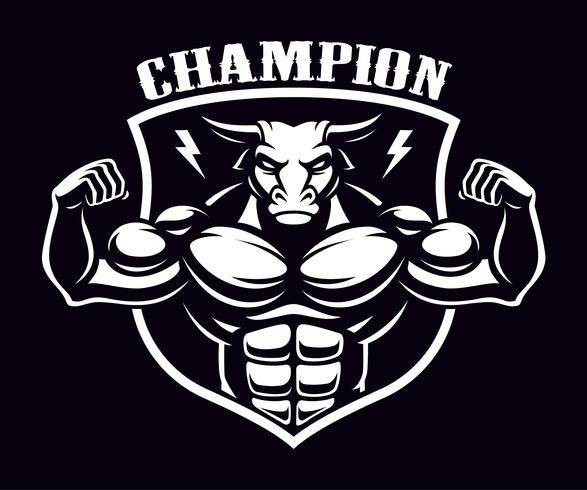 Black and white badge of a bull bodybuilder . vector