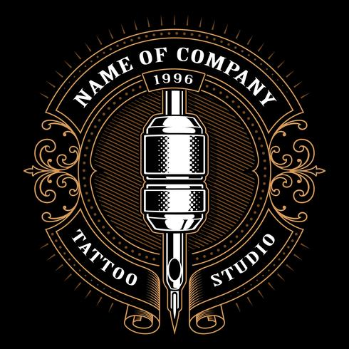 Vintage tattoo studio emblem_1 (voor donkere achtergrond)