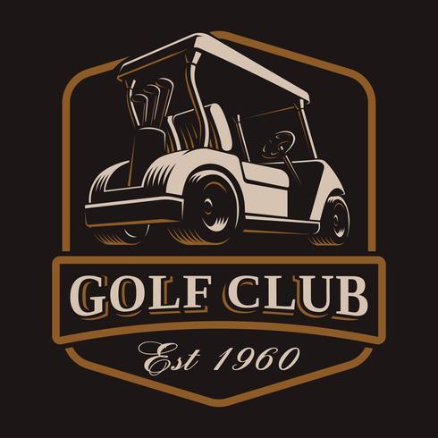 Carro de golf vector logo sobre fondo oscuro