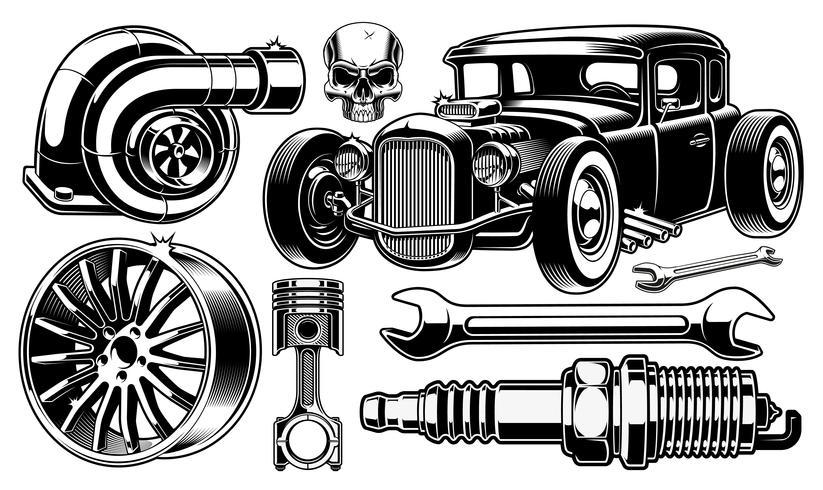 Elementos de design de reparação automóvel. vetor