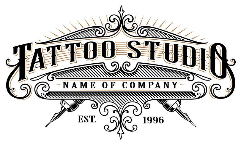 Estudio de tatuajes vintage emblem_2 (para fondo blanco)