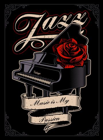 Vector illustration of the piano with rose.