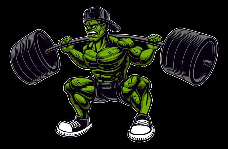 Färgad vektor illustration av en bodybuilder med barbell