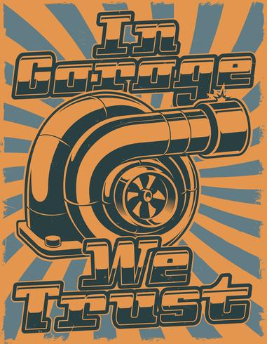 Retro poster with turbocharger vector