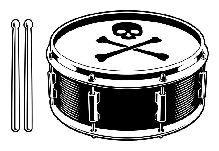 Black and white illustration of drum vector