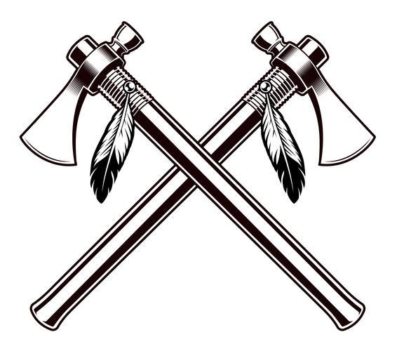 Illustration vectorielle noir et blanc des tomahawks
