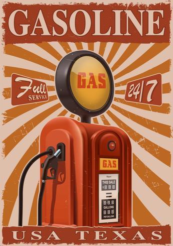 Poster vintage con vecchia pompa di benzina. vettore