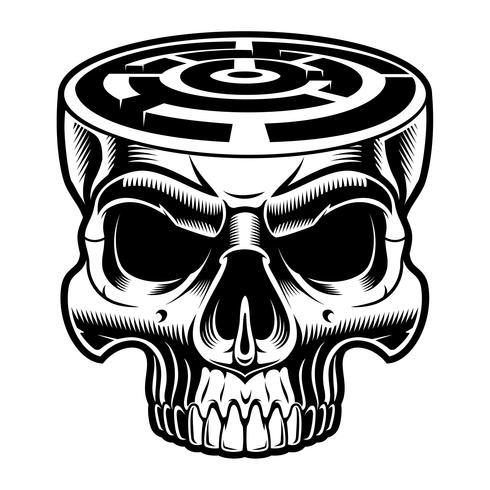 Vector a ilustração de um crânio com labirinto na cabeça.