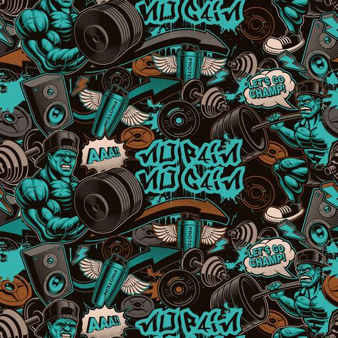 Seamless pattern for the gym in graffiti style