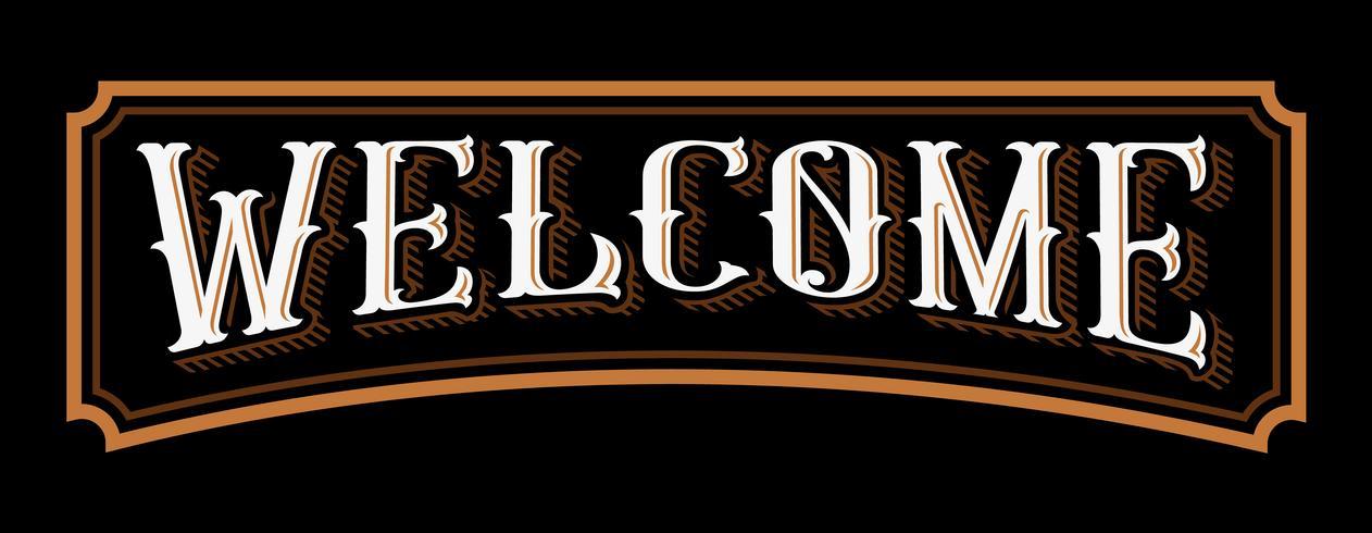 Bienvenido letras de la vendimia. vector