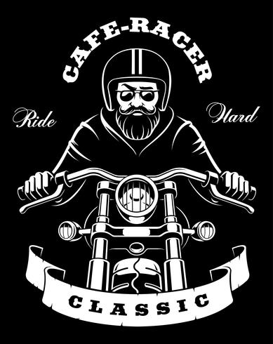 Motorcycle rider with beard on dark background vector