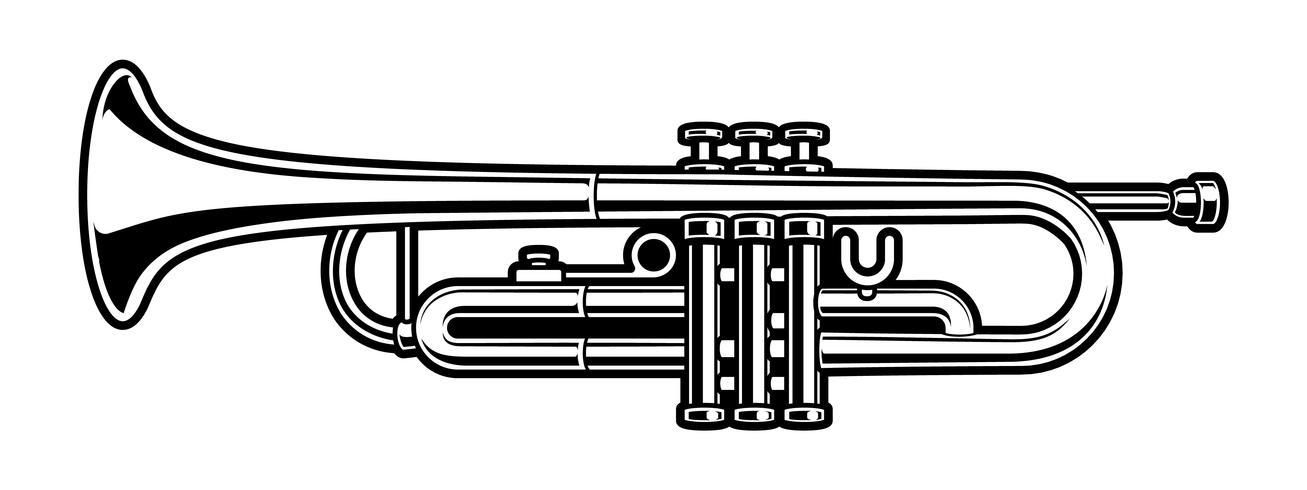 black and white illustration of trumpet