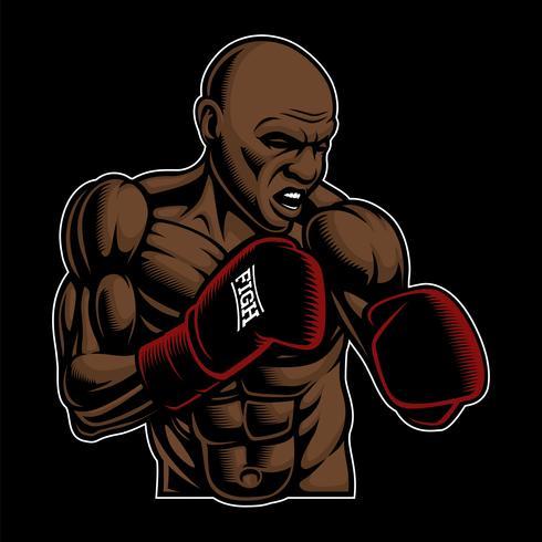 Ilustração colorida de lutador de caixa no fundo escuro