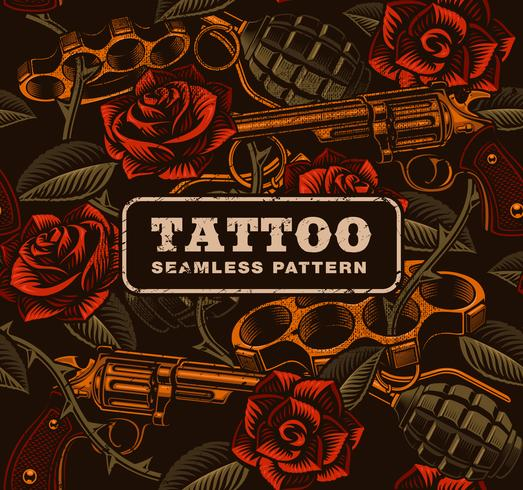 Weapon with roses, tattoo seamless pattern. vector