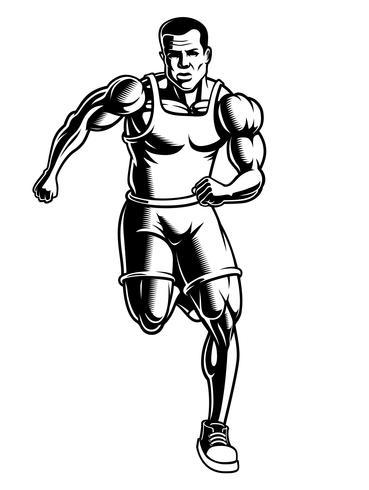 Ilustración en blanco y negro de un corredor vector