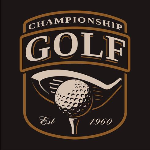 Emblem with golf club and ball on dark background