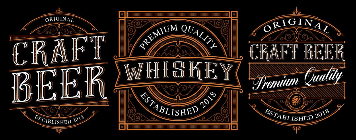 Vintage alcohol labels on dark background