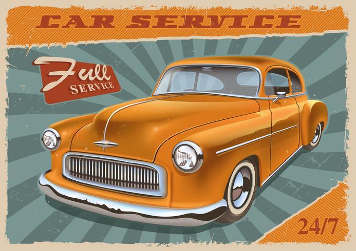 Vintage poster met retro auto. vector