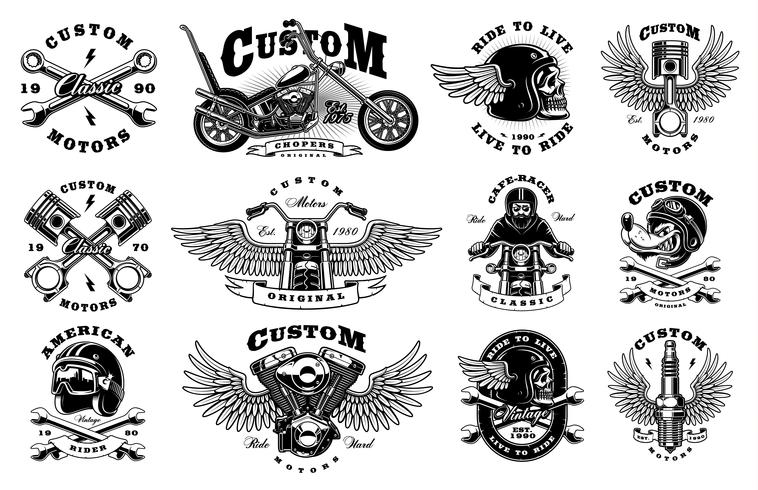Conjunto con 12 ilustraciones de motociclista vintage sobre fondo blanco.