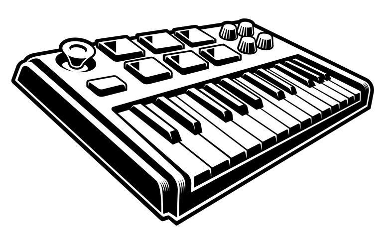 Ilustración en blanco y negro de teclado midi vector