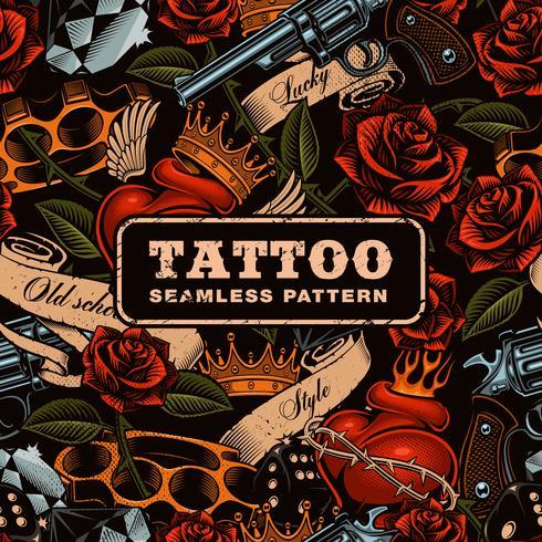 Old school tattoo seamless pattern. vector