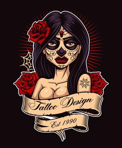Chica del tatuaje chicano vector
