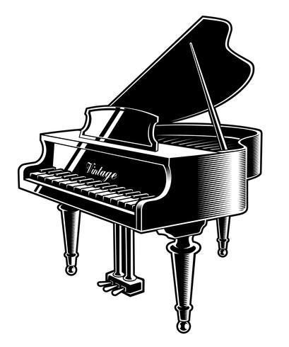 Vector illustration of the piano