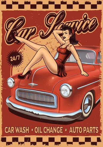 Poster rerto pin-up con ragazza e auto d'epoca