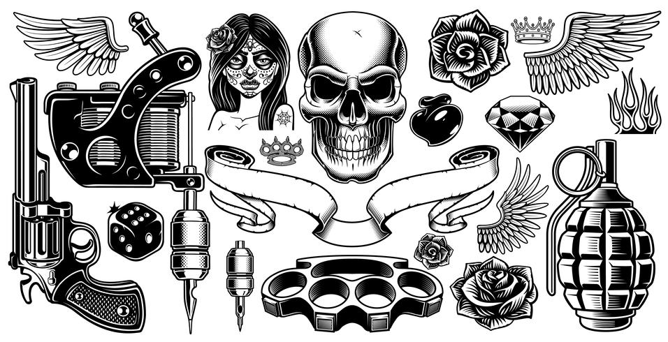 Set van tattoo kunst