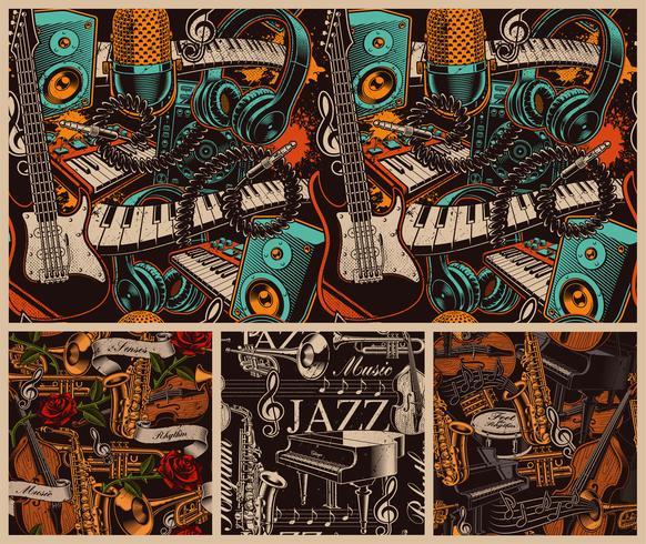 Set van verschillende muzikale naadloze achtergronden.