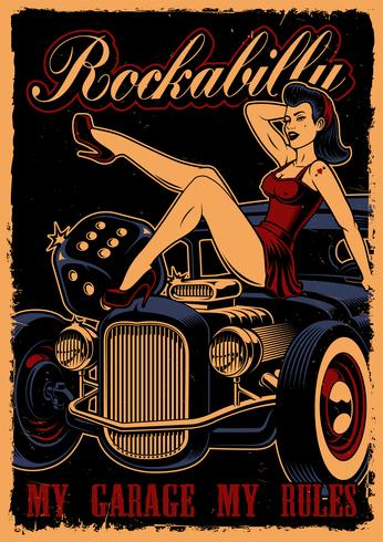 Affiche avec pin up girl et voiture classique