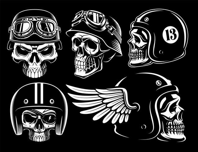 Conjunto de calaveras biker. vector