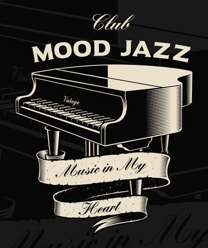 Vector illustration of vintage piano with ribbon