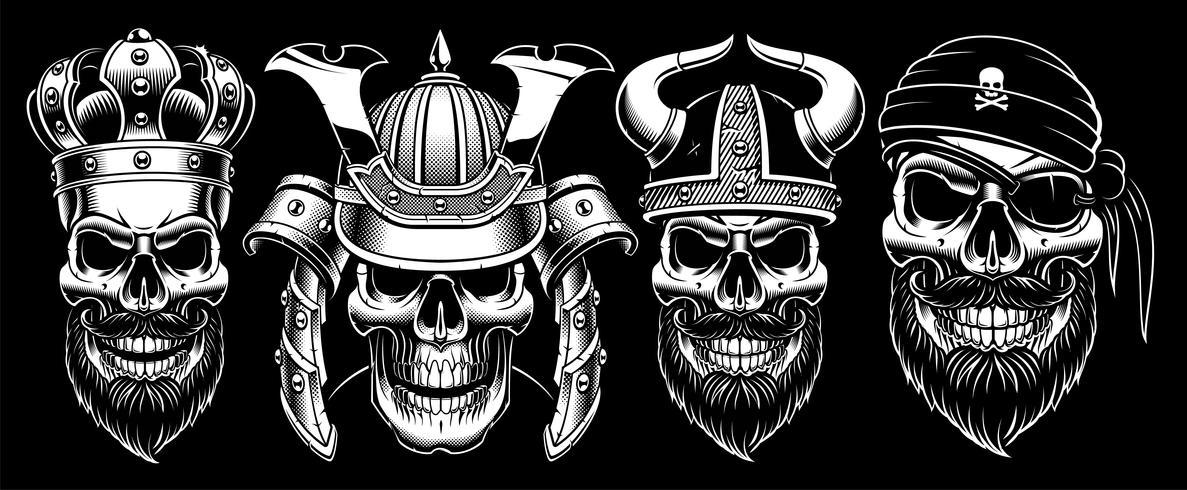 Set of vintage skulls. vector