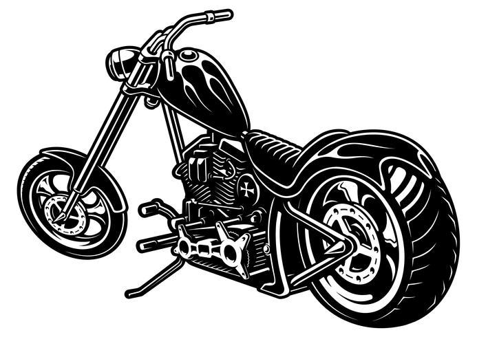 Hacheur de moto sur fond blanc