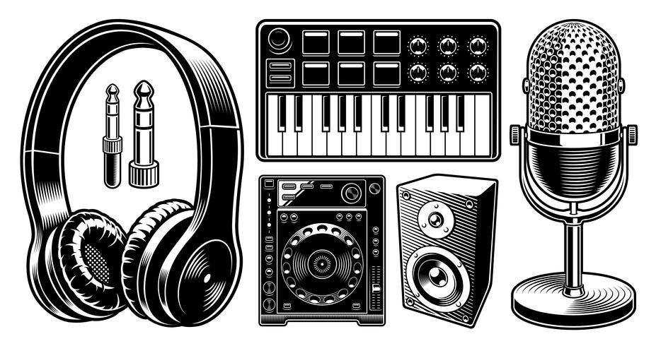 Jogo de ilustrações preto e branco do DJ no fundo branco.