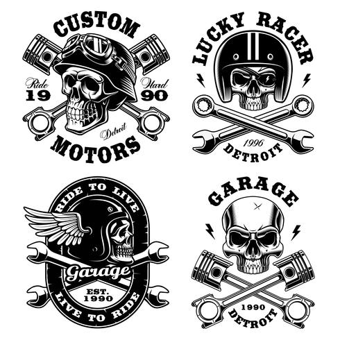 Set of Biker skulls. vector