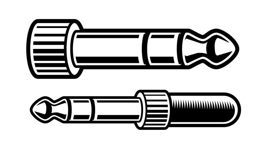 illustrazione in bianco e nero della spina delle cuffie vettore