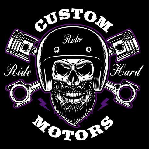 Cranio del motociclista con barba e pistoni incrociati.