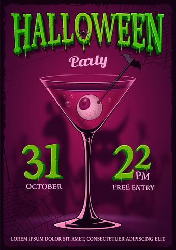 Halloween-partijaffiche met binnen illustratie van cocktail met ogen.