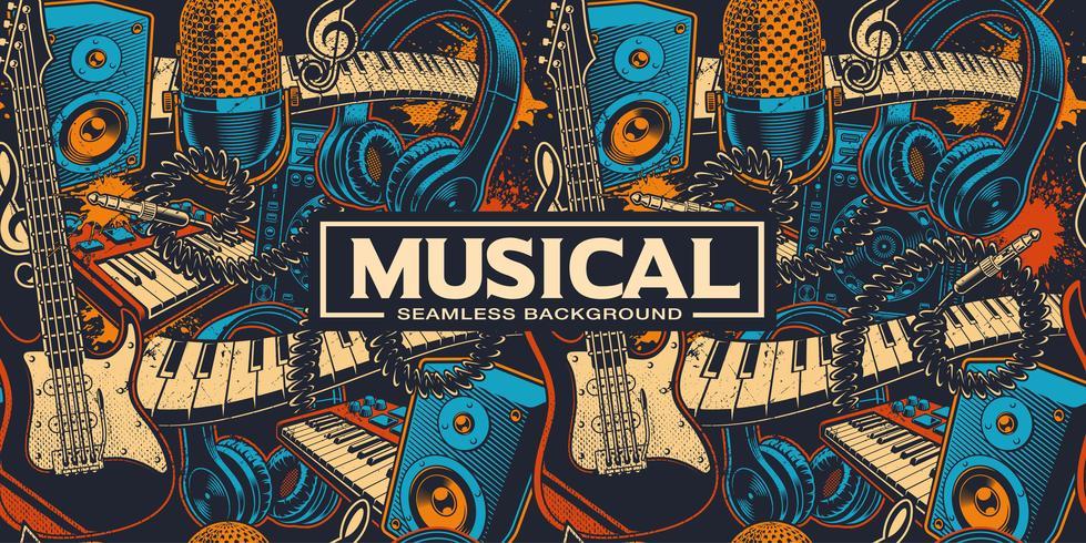 Fundo musical sem costura com diferentes insrtuments