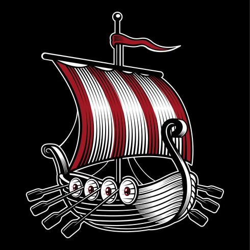 Vector illustration with ship of viking.