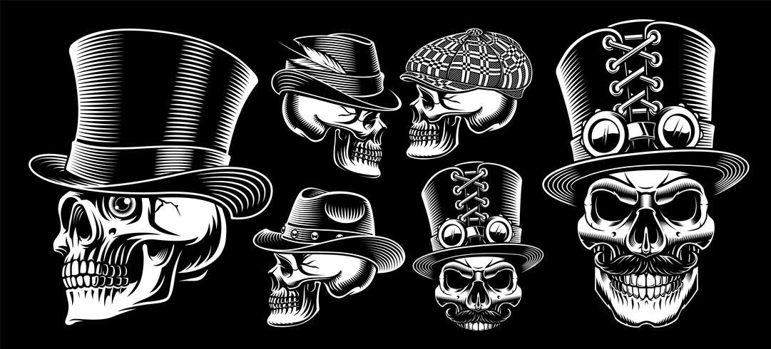Ensemble de crânes de vecteur noir et blanc