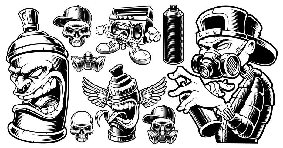 Set of black and white graffiti characters.