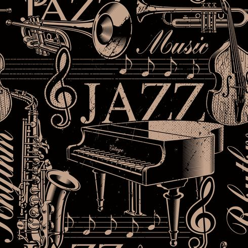 Musical seamless background of jazz theme vector